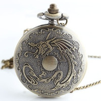 Bronze dragon play bead pattern carved quartz pocket watch Large quartz watch (Color: Cinnamon) = 1753563204