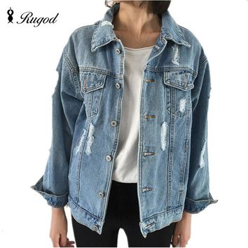 Faded Distressed Women's Jean Jacket/Denim Jacket