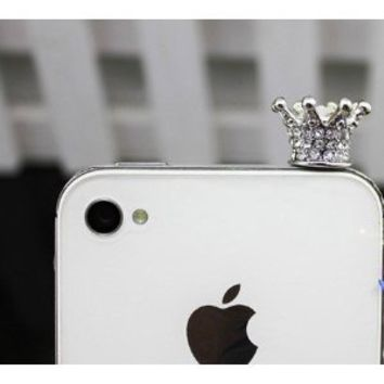 TOOGOO 3.5mm Crystal Crown Anti Dust Earphone Jack Plug Stopper for iPhone 4 4s (SILVER)