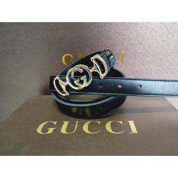 GUCCI Tide brand female models personality wild smooth buckle belt