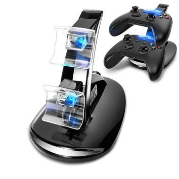 USB LED Fast Charging Stand Dock Station For  Xbox One Game Dual Controller - Black