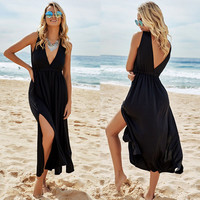 Black V-neck Split Beach Vacation One Piece Dress [8096400903]