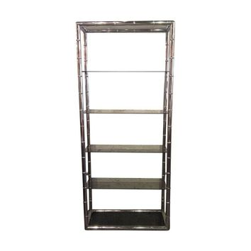 Pre-owned Chrome Faux Bamboo Etagere