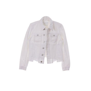 Blank NYC Womens White Denim Jacket