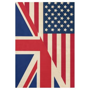 American and Union Jack Flag Wood Poster
