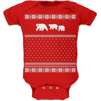 ESBGQ9 Polar Bears Ugly Christmas Sweater Red Baby One Piece