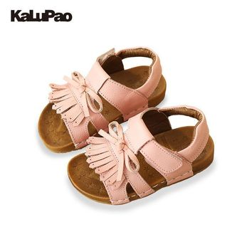 KALUPAO Childrens Shoes Baby Tassel Shoes Princess Girls Leather Sandal Soft Sole