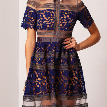 Blue Lapel Contrast Sheer Mesh Lace Dress