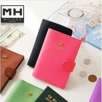 CREYCI7 2015 new New Ribbon Korea Bowknot PU leather Passport Holder Documents Bag Sweet Travel accessories the cover of the passport
