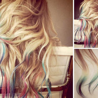 RAINBOW Tip Ombre Hair Extensions // FULL  by WarriorsOfCulture