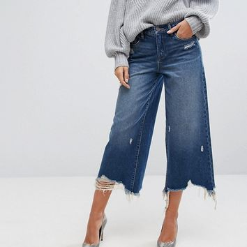 Blank NYC Wide Leg Jean with Distressing at asos.com