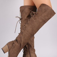 Vegan Leather Back Lace Up Over The Knee Boots