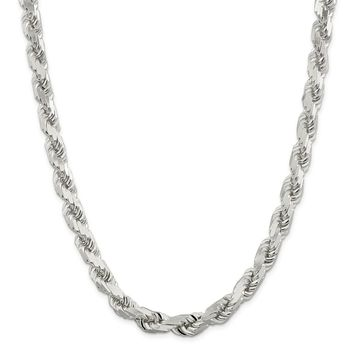 925 Sterling Silver 10.25mm Diamond-cut Rope Chain Necklace, Bracelet or Anklet
