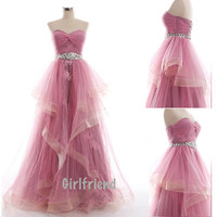 Sweetheart Pink Sweetheart Strapless Sleeveless Long Handmade Prom Dress , Gown