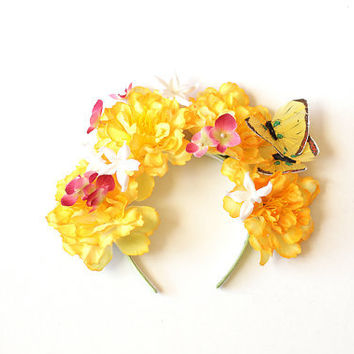 yellow statement flower headband - wedding headpiece, garden party, spring racing carnival hair accessory fascinator, bridal, butterfly.
