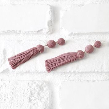 Mauve Ball Drop Tassel Earrings