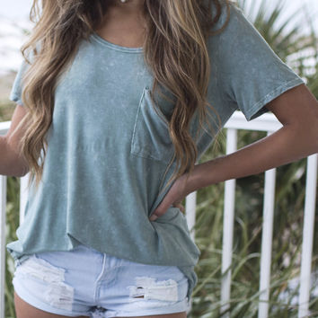 Instant Chill Sage Mineral Wash Top