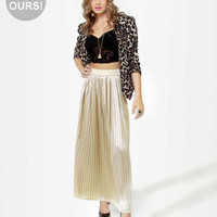 Lovely Maxi Skirt - Pleated Skirt - Champagne Skirt