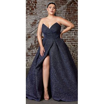 Plus Size Long Strapless Ball Gown Midnight Blue Glitter Finish Lace Up Corset Back