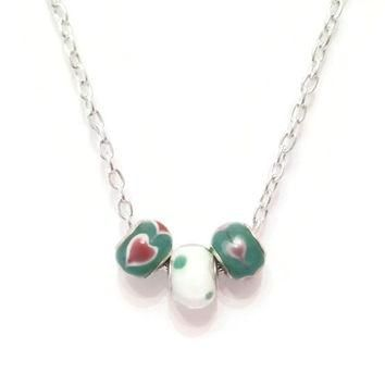 Murano Glass Bead Pandora - Style Necklace, Heart Necklace, Valentine's Day, Unique Bi