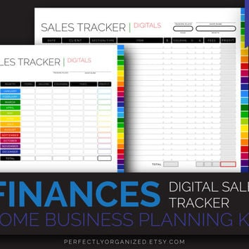 Sales Log, Sales Tracker Organizer, Home Budget, Home Business Planning // Colorful, Planner Organizer DIY // Household PDF Printables