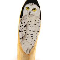 Hand painted wooden trunk, white snowy owl, wood home decor