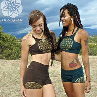 Sharatan: Yoga Shorts with Flower of Life Screen Prints. Sacred Geometry Hot Pants. High waisted fold top active wear.