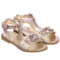 Girls Pink & Beige Leather Sandals with Gems