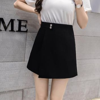 Hot Shorts 2018 New Women  Skirts Spring Fashion High Waist  Female Casual Loose Culottes Black/Pink/White  For WomanAT_43_3