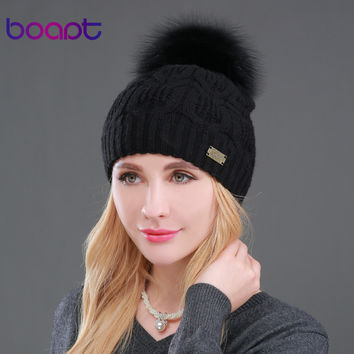 BOAPT Real Raccoon Fur Genuine Wool Female Caps Metal Decoration Double-deck Warm Cross Knitted Winter Hats for Women Beanies