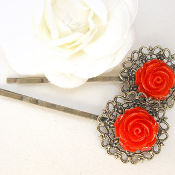 Red rose bobby pins with vintage bronze filigree