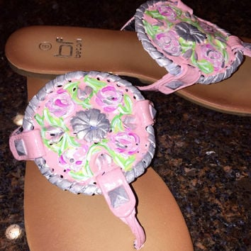 "Jack Rogers inspired ""georgica"" style sandal with a Lilly Pulitzer like design"