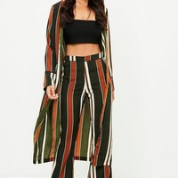 Missguided - Green Stripe Duster Jacket