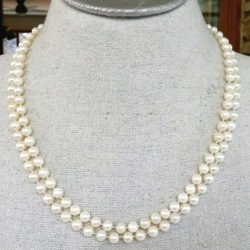 "Vtg 14K Genuine Pearl 2 Strand Necklace 21.5"" Hand Tied 53Gr 6mm Round White"