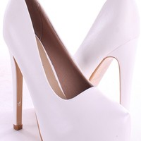 WHITE FAUX LEATHER CLOSED TOE PUMP HEELS