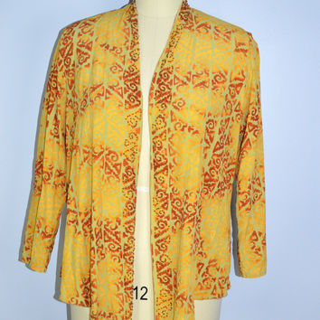 Soft Surroundings Beaded Jacket Yellow Lightweight Large