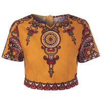 Orange Yellow Ethnic Tribal Pattern Crop Top