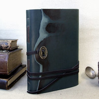 Green Leather Journal with Vintage Style Pages - The Magic Of The Past