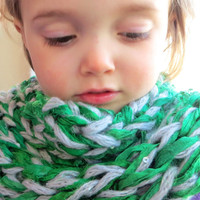 One Size Sari Ribbon Cowl Kelly Green and Silver Sequin by The Wild Willows