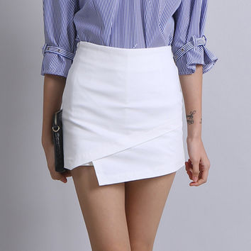 Street Style Solid Color Skort Shorts For Women Summer Irregular Booty Shorts