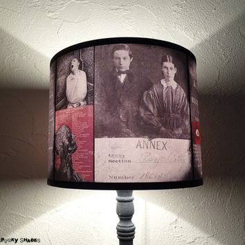 Asylum red lamp shade - lighting,lampshade,oddities,Halloween decor,dark decor, drum lamp shade,dark art,spooky lampshade,victorian hospital