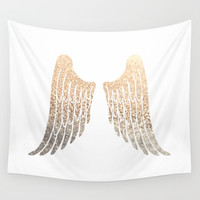 GOLD WINGS Wall Tapestry by monikastrigel