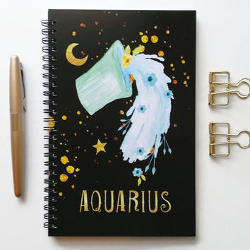 Writing journal, spiral notebook, bullet journal, black sketchbook, cute notebook, blank lined grid, zodiac sign, astrology - Aquarius