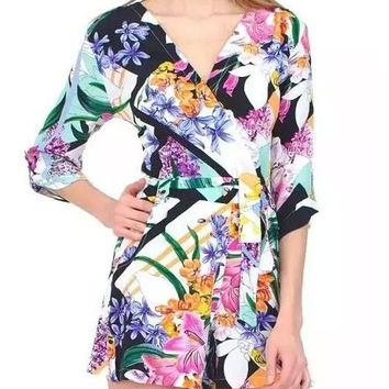 Fashion Flowers Printed Cross V-neck Half Sleeve Rompers