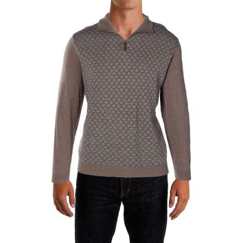Tasso Elba Mens 1/4 Zip Patterned Sweater Cocoa Bean Heather Large