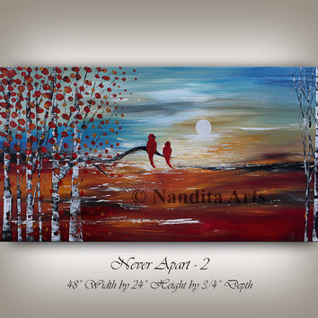 LANDSCAPE PAINTING Sunset Scenic Art - Birch Tree Home Decor, Bird Art Abstract ORIGINAL Landscape, Wall Art Decor, Art Gallery by Nandita