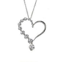 .925 Silver Heart Necklace Clear CZ Cubic Zirconia 16""