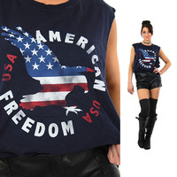 USA shirt American tee graphic eagle red white blue t-shirt sleeveless oversized unisex patriotic top Extra Large