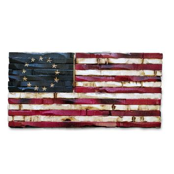 Wood Burned American Flag - Betsy Ross Americana Edition 17x9