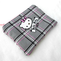 Plaid Hello Kitty Zipper Pouch - Plaid Hello Kitty Gray Grey Pink Black Bag Clutch Wallet Electronics